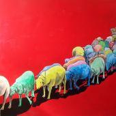 serie El Rebaño. Letargo, 2013. Acrílico sobre lienzo / 155 x 155 cm